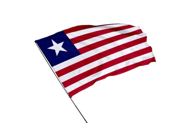 Liberia flag on a white background