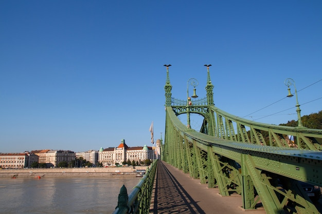 Liberty bridge in budapest in sunny summer day