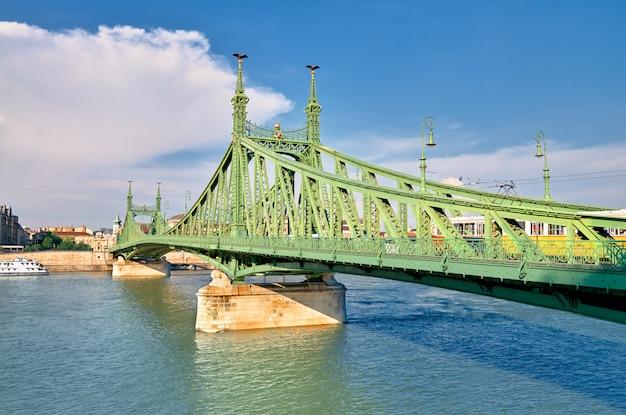 Liberty bridge, or freedom bridge in budapest, hungary