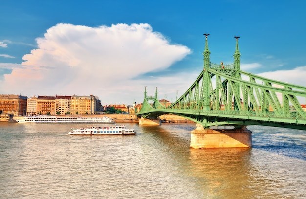 Liberty bridge, or freedom bridge in budapest, hungary