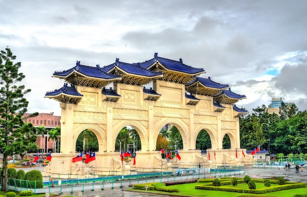 Главные ворота на площади свободы в тайбэе, тайвань