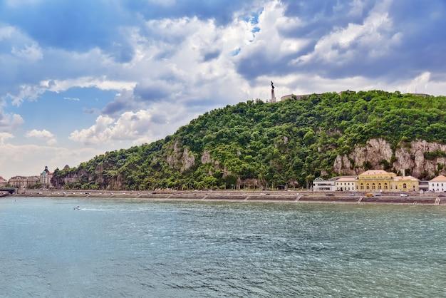 Liberty statue gellert hill in budapest. hungary.