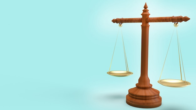 Libra law on blue background 3d  rendering for law content.
