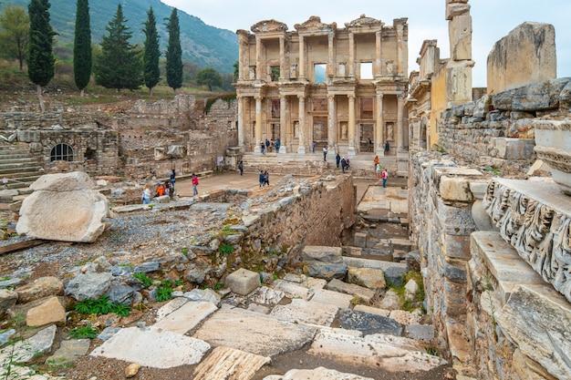 The library of celsus in ephesus in izmir, turkey