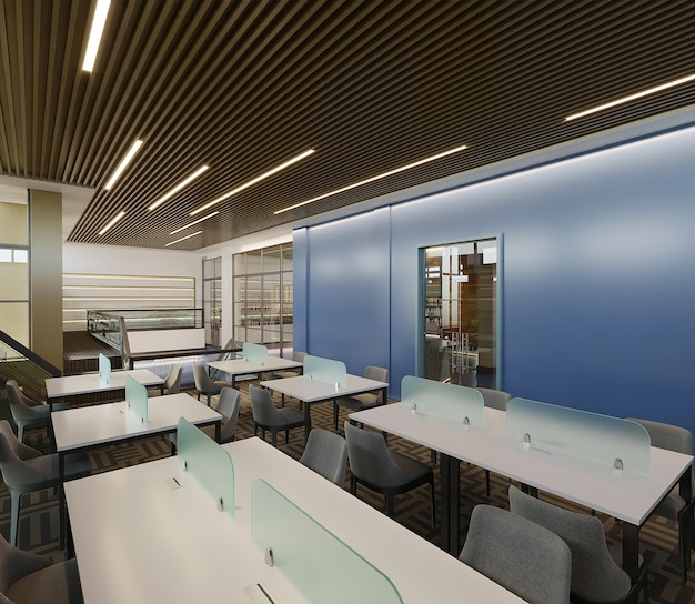Library design with study room, 3d render