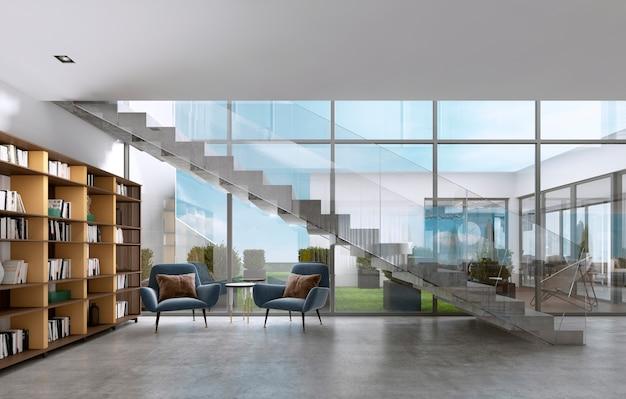 現代的な部屋の本と階段の下の大きな窓のある図書館の棚。 3dレンダリング。