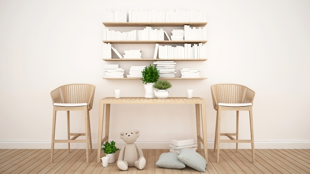 Library and toy in kid room or coffee shop - 3d rendering