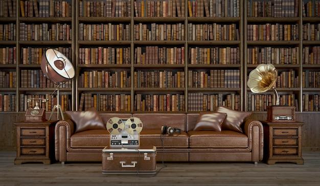 革張りのソファとグラモフォンを備えた図書室