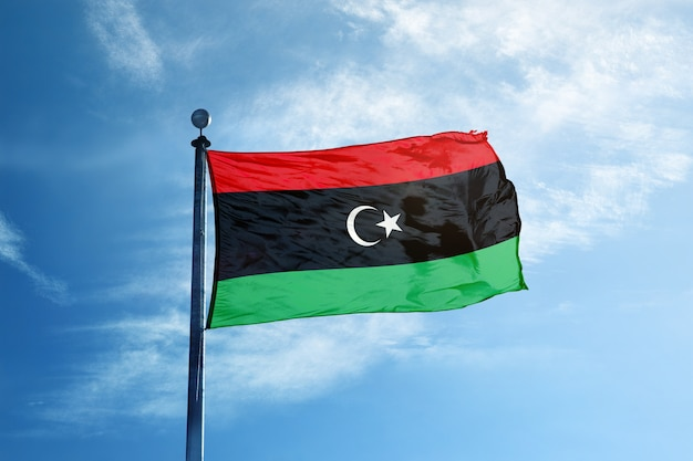 Libya flag on the mast