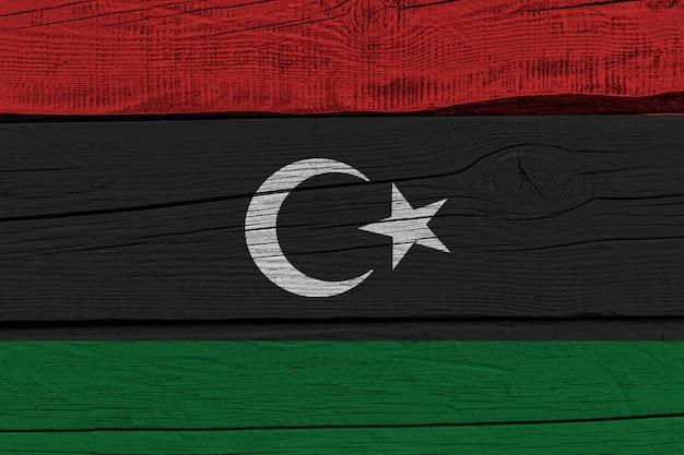 Libya flag painted on old wood plank