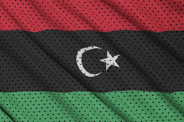 Libya flag printed on a polyester nylon mesh