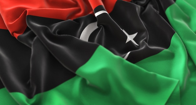 Libya flag ruffled beautifully waving macro close-up shot