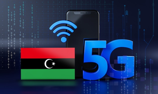 リビアは5g接続の概念に対応しています。 3dレンダリングスマートフォン技術の背景