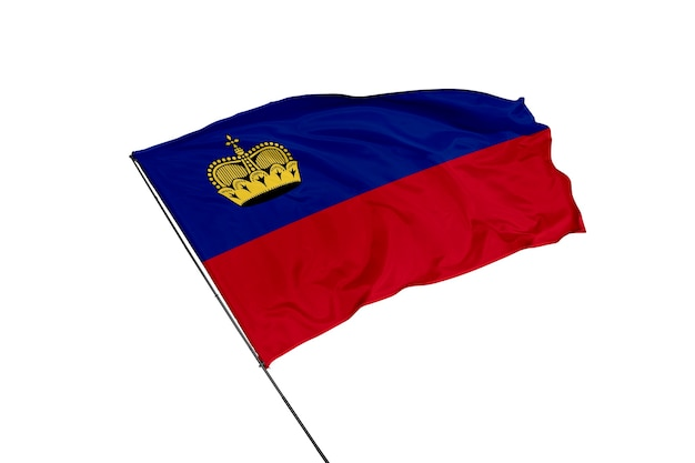 Флаг лихтенштейна на белом фоне