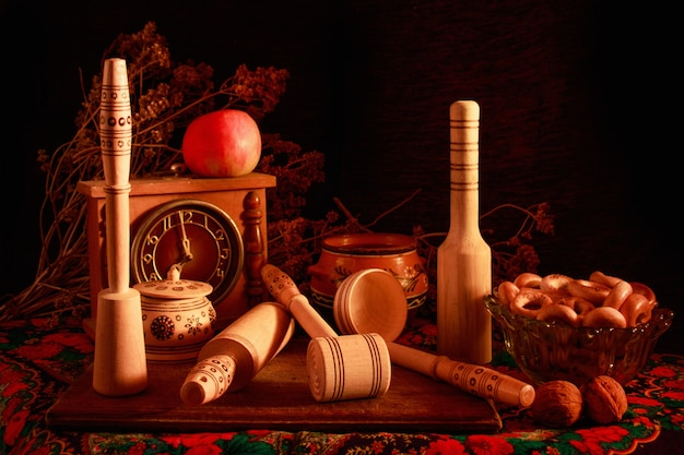 Life art photography concept with earthenware and kitchen tools