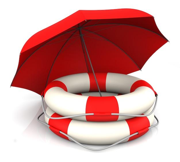 Спасательный пояс и красный зонтик. 3d-рендеринг