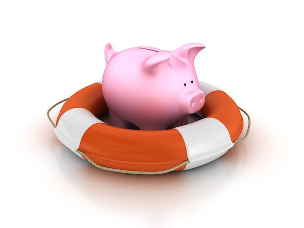 Life belt with piggy bank