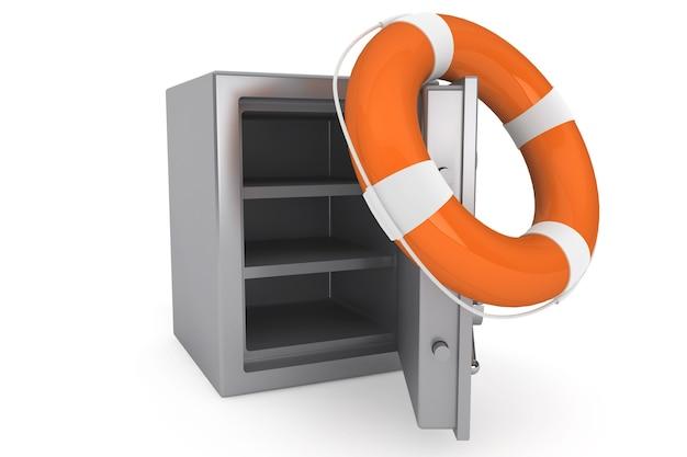 白い背景の上の救命浮き輪と銀行の安全