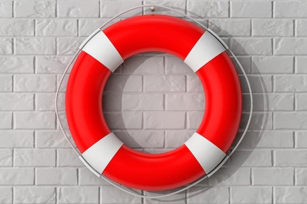 Спасательный круг висит на кирпичной стене экстремальный крупным планом