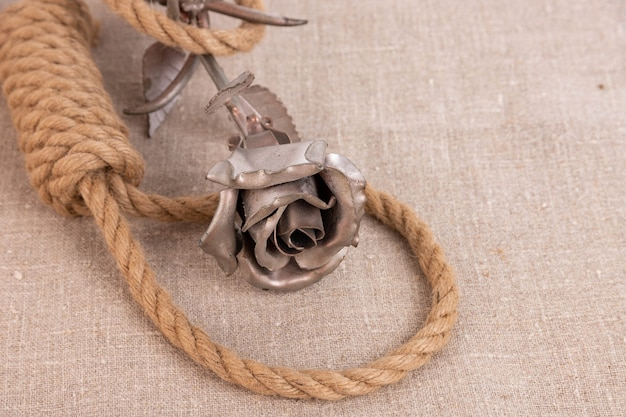 Life is short, suicide rope noose on linen canvas and iron rose flower.
