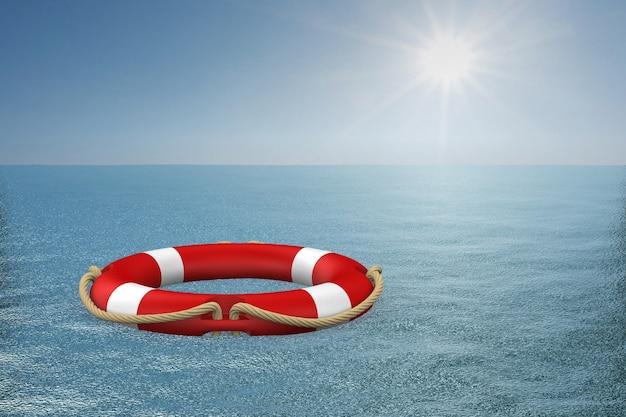 Кольцо жизни на воде. 3d иллюстрация