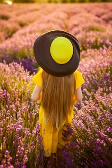 Life style. back view. lavender field. the girl in the hat goes on the flower field. freedom, union with nature