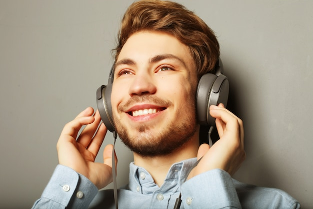 Life style, happiness, emotional and people concept. enjoying his favorite music.
