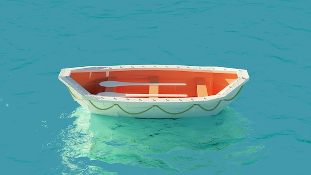 Lifeboat in the middle of the sea