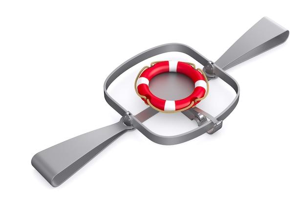 Lifebuoy 및 흰색에 고립 된 곰 트랩 3d 그림