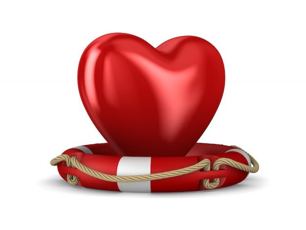 Спасательный круг и сердце на белом. изолированные 3d иллюстрации