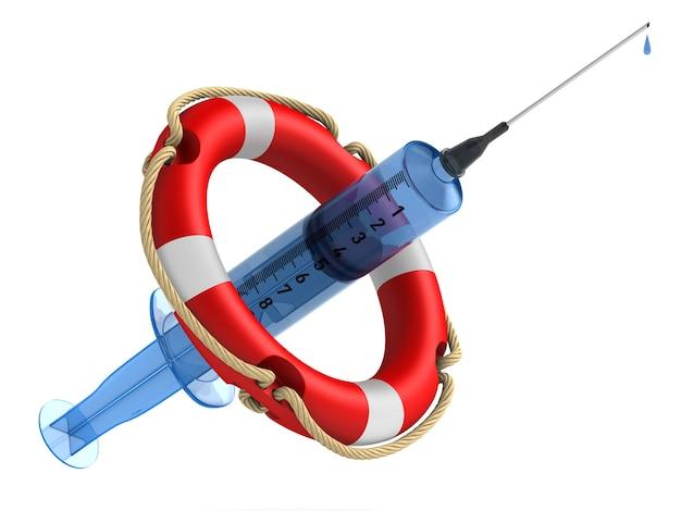 白い背景の上の救命浮輪と医療注射器。分離された3dイラスト