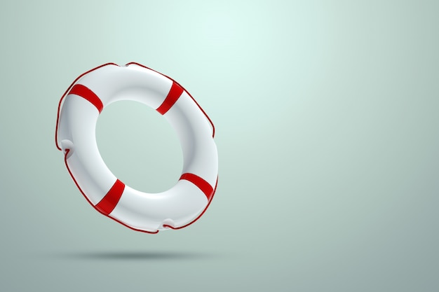 Lifebuoy on a light wall. help, rescue concept. copy space. 3d illustration, 3d rendering.