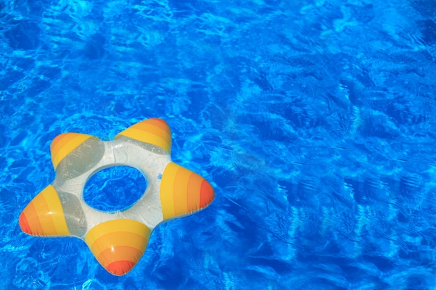Lifebuoy on the water. rubber star floating.