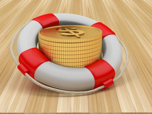Спасательный круг с долларовыми монетами на деревянном