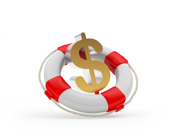 Спасательный круг со знаком доллара