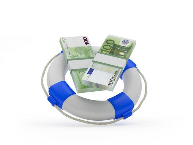 Спасательный круг с банкнотами евро