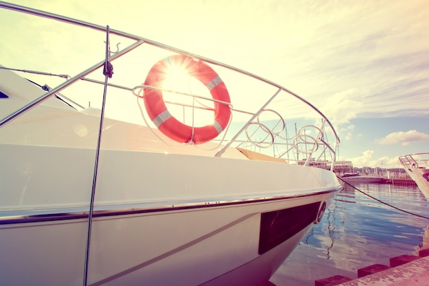 Lifebuoy on the yacht at summer day.
