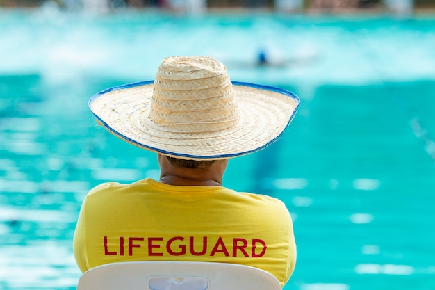 Lifeguard on duty at a swimming pool