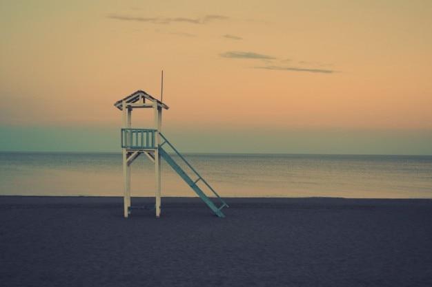 Lifeguard hut on the shore