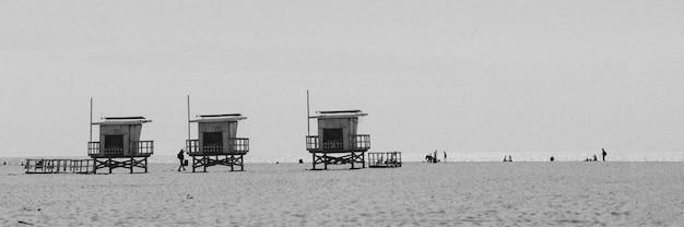 Lifeguard huts on a los angeles beach