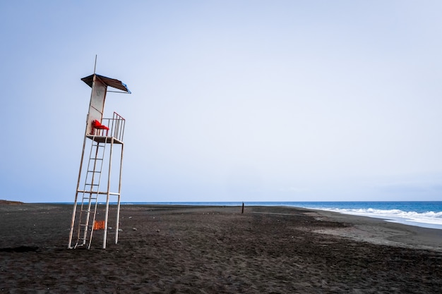 Lifeguard tower chair in fogo island, cape verde