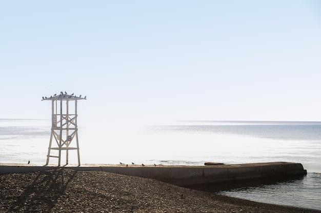 青い朝の空を背景に人けのないビーチのライフガードタワー