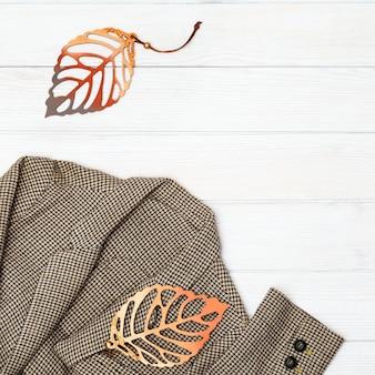 흰색 나무에 장식 잎 여자 체크 무늬 재킷을위한 라이프 스타일 가을 편안한 옷