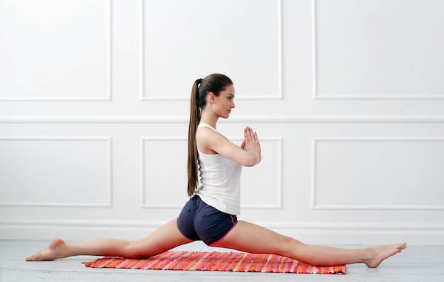 Lifestyle. beautiful girl during yoga exercise