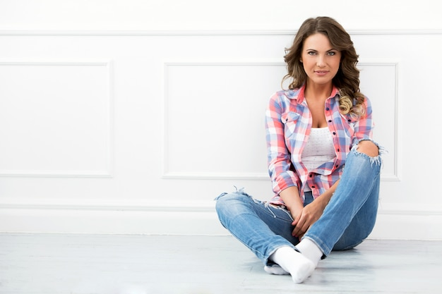 Lifestyle. beautiful girl in jeans