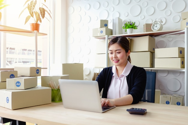 Lifestyle business woman sitting in office looking screen laptop smile working