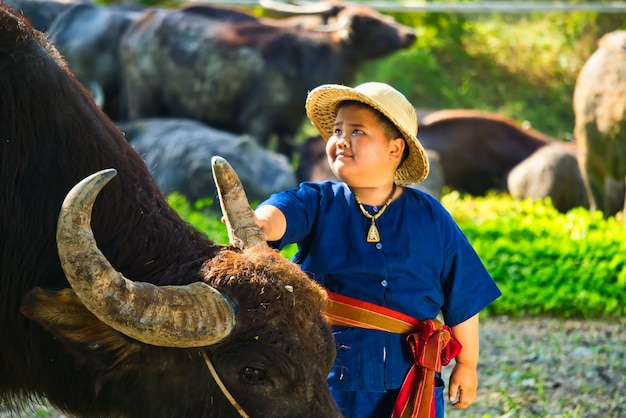 The lifestyle of children living in rural areas of thailand as a farmer