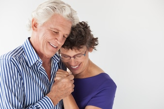 Lifestyle hugging old lover couple