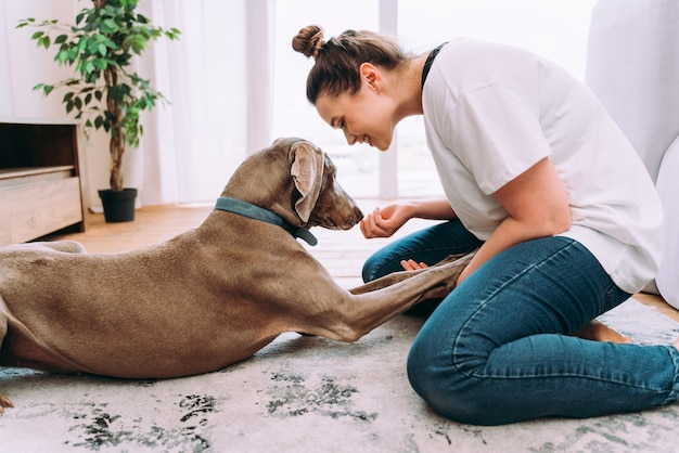 Lifestyle moments of a young woman at home. woman playing with her dog in the living room