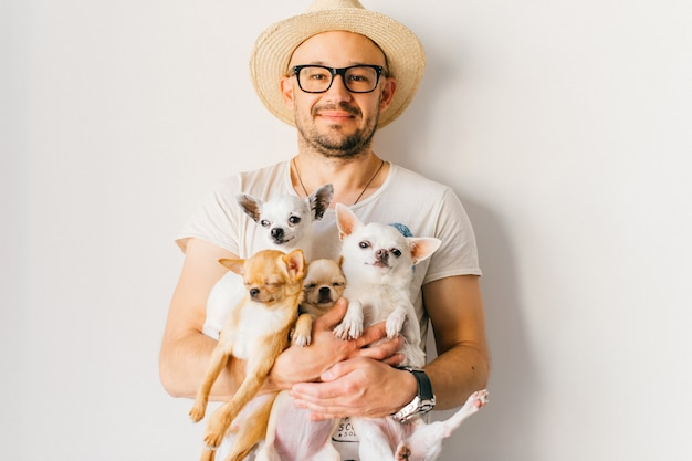 Портрет образа жизни молодого счастливого битника в соломенной шляпе и стеклах держа четырех маленьких щенят чихуахуа в руках над белой стеной,